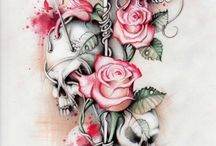 Tattoo / Rose & skulls