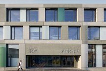 FOM Institute AMOLF (Amsterdam, the Netherlands) / Size: 45,570 m2 Status: Completed 2006 - 2009  Address: Science Park 104 1098 XG Amsterdam, the Netherlands Client: FOM Instituut AMOLF, Amsterdam  Design Team: Dick van Gameren  Programme: This laboratory for research in elementary physics is situated on the edge of Sciencepark Watergraafsmeer in East Amsterdam. It consists of three parallel components: a narrow office wing, a central volume with laboratories for experiments, and a section with workshops.  / by mecanoo
