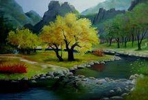 Pintando paisagens.