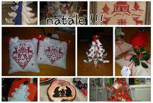 idee regalo natale 2015 / creazioni artigianali: alberelli natalizi in stoffa, 3d, imbottiti - cuscinetti con decori a puntocroce,  cuori dipinti a mano
