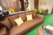 ApartHotel EARTH / This 51 m² aparthotel was designed by #Morphoza in order to become a home-away-from-home experience to its guests. The atmosphere created through the interior design is bright and relaxing. The colors used for the walls and the furniture give a cozy aspect to this decor.