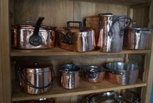 Antique copper pans / Beautifully polished and retinned antique copper pans