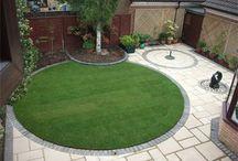 circular lawn + paving