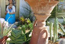 Xeric + Mediterranean Garden Style / Garden ideas for dry (xeriscaped) and Mediterranean gardens that feature old world Spanish hacienda details, and a confident use of color.