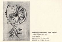 Tosato Argante's creation, a piece of art  / A bas-relief project study with a leaf volute, by Tosato Argante, undated, mm 330x480. Made with indian ink and water drawing on beige paper.  (dating back to 1920, 1930)
