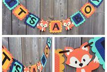 Fox baby shower banner