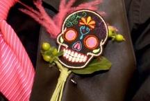 Boutonnieres: Latin Inspired / Latin and Dia de los Muertos inspired boutonnieres. #boutonnieres #buttonholes #groom #groomflowers #wedding #latinwedding #latinboutonniere #latinbuttonhole #diadelosmuertoswedding #diadelosmuertosboutonniere #diadelosmuertosbuttonhole #mexicanwedding