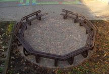 Recycled Plastic Round Benches / Our hanit® recycled plastic round benches use a selection of our recycled plastic benches to form a round structure to circulate trees or form seating areas in playgrounds for example. http://www.hahnplastics.com/hanit-round-benches/