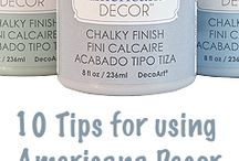 Americana Decor Chalky Finish Paint / tips and trick for using Chalky Finish paint. Also projects using this paint.