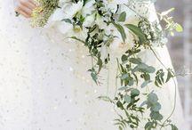 cascading bridal bouquets