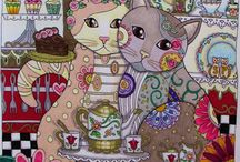 COLOURING BOOKS - OTHERS / Creative Cats, Millie Marotto etc