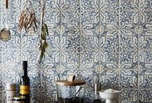 Cement tile kitchen splashback