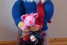 Knitted Santas and other figurs / Home made knitting and krochet figurs