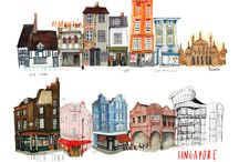 Illustrated buildings