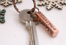 COPPER KEY RINGS / Personalised Hand Stamped Key Rings.  Any message, name, date you like (as long as it fits) stamped by hand on a copper key ring!  FANTASTIC pressies!