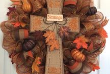 Fall cross wreath