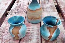 pottery glaze blue aqua stoneware