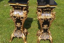 black marble top French lady pedestals