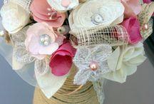 Bouquet papier tissu