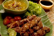 Indonesia-Culinary: Satay / Satay, modern Indonesian spelling of sate, is a dish of seasoned, skewered and grilled meat, served with a sauce / by Isye Whiting