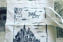 Tote bag - pratique puisque qu'on n'utilise plus de plastique / Mes dessins sur de jolis sacs Leger