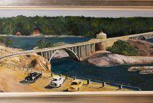 Maisemat / Ukkopekan silta maalattuna 1957 mustavalkoisesta kuvasta.