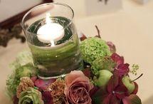 一会 他色の装花(メイン&卓上) / 白・グリーン、茶系、黄・オレンジ系、ブルー系、紫系など、 フラワーデザイナー 岩橋美佳さんによる作品を集めています。