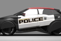 Futuristic Police aircraft and Vehicles