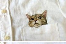 Pocket embroidery cats