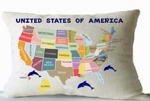 kids pillow with map