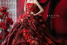 Incredible dark red wedding dress with red roses