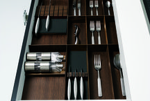 An ALNO Kitchen is beautiful inside and out / Wooden inserts, smoked oak.  High-quality wooden inserts in smoked oak are available as cutlery inserts in all drawer widths for unit depths of 560 and 710 mm.