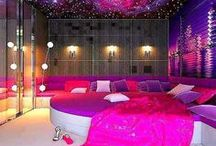 Home ideas.  Bedroom.  Galaxy and Universe theme.