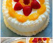Chinese Sponge Cake cream and fruit