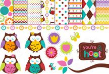clipart combo owls in spring clip art digital clipart