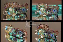 Коллекция Dancing Aliens / Коллекция кулонов Dancing Aliens.  Авторский лэмпворк Веры Викторовой стерлинговое серебро. Сollection   Dancing Aliens   Glass beads handmade by Vera Viktorova  Sterling Silver