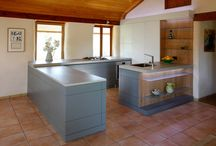 Modern kitchen in traditional strawbale house