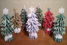 3d origami kerst