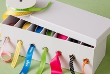 organized box with ribbons