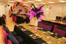 Room Decor Fuchsia & gold by Designs by Diana / Decorations for events by Designs by Diana