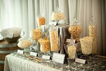 Popcorn Bars!  / We love a great bar...popcorn bar that is! Whether you're giving popcorn party favors to guests at a wedding or feeding a hungry crowd at a party...popcorn bars are ALWAYS a great option!