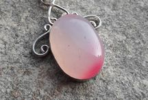 Silver plated pendants with gemstones / Silver plated pendants with gemstones