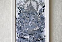 Ganesha art Acryl (by Nadyamarrakesh)