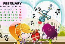 "February/Febrero / Now, you can download ""Lucky Fred's and Sandra´s Detective Month of February""  as a wallpaper to organize your activities at the school! / ¡Ya puedes descargarte el ""Mes de febrero de Lucky Fred y Sandra Detective"" como fondo de pantalla y así podrás organizarte con las actividades del cole! /"