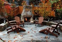 patio with fireplace / by Rebekah Howard