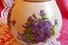 Decorated glass vase
