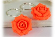 Neon Flower Jewelry / Handcrafted neon flower jewelry in necklaces and earrings.