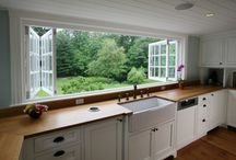 the picnic to go kitchen / clean. white. and open shelving / by a picnic to go