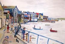 Fred Yates / Fred Yates artist painter naive primitive paintings art St Ives Cornwall for sale