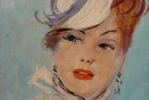 Jean- Gabriel DOUMERGUE / J.G. Domergue (4/3/1889-16/11/1962) élève de Degas,peint en 1920,un nouveau type de femme,mince,désinvolte,gracile,très élégante,avec de grands yeux observant le monde avec envie. Il devint le peintre de la « Parisienne ».  « Je suis l'inventeur de la pin-up » déclara-t-il. Il fit près de 3000 portraits:  la future Nadine de Rothschild,Mylène Demongeot, B.B.,Michèle Morgan,Joséphine Backer..« Les femmes ne trouvent leur portrait ressemblant que lorsqu'il ressemble à ce qu'elles voudraient être.» / by PLK de Noétique
